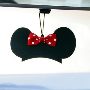 Rearview Mirror Charm - Mouseketeer Hat with Bow - You choose the ribbon print!