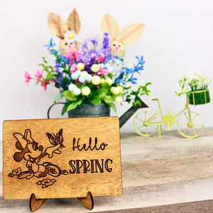 Hello Spring - Engraved Wood Home Decor