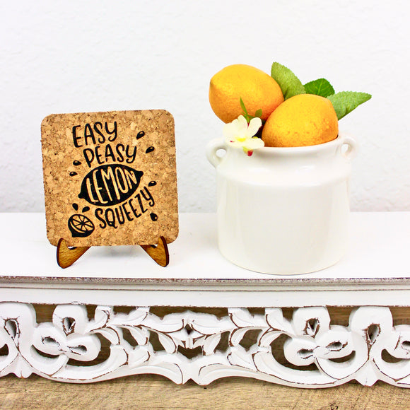 Easy Peasy Lemon Squeezy Cork Trivet or Mini Trivet