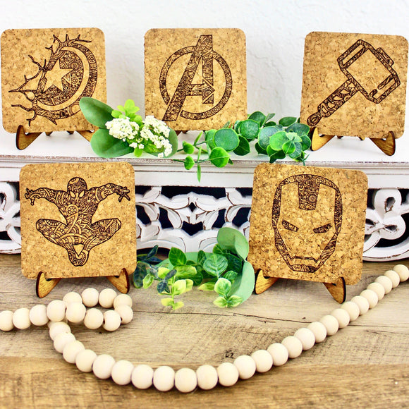 Superheroes Mandala Cork Trivet or Mini Trivet