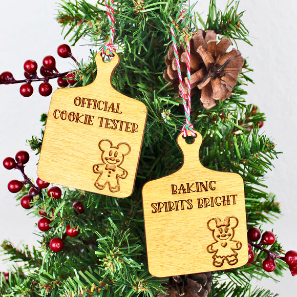 Mini Faux Cutting Board - Gingerbread Wood Ornaments