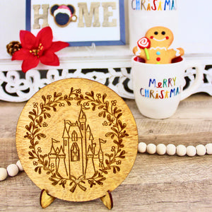 Christmas Castle - Engraved Wood Home Decor