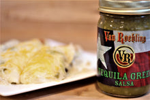 Van Roehling Tequila Green Salsa - a hot, jalapeno salsa with a splash of tequila - the perfect salsa for a layered bean dip or chicken enchiladas