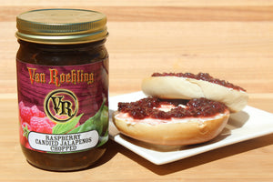 Van Roehling Raspberry candied jalapenos sweet and spicy easy appetizer bagel topping