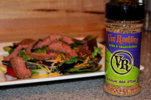 Van Roehling Sizzlin' Oak Steak Seasoning filet rub texas flavor grilling bbq barbecue steak salad t-bone ribeye fajitas sirloin ground beef meatloaf tenderloin