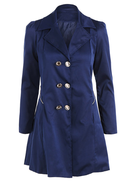 Double Breasted Fit and Flare Trench Coat - Cadetblue - 2xl - shopyes.us
