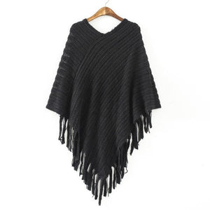 2017 Autumn Winter Women Sweater Tassel Knitted Sweater Poncho Sexy Irregular Hem Casual Loose Pullover Cape Coat Jumper - shopyes.us