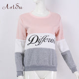 ArtSu 2017 Autumn and winter women fleeve hoodies printed letters tracksuit women's casual sweatshirt hoody sudaderas EPHO80027 - shopyes.us