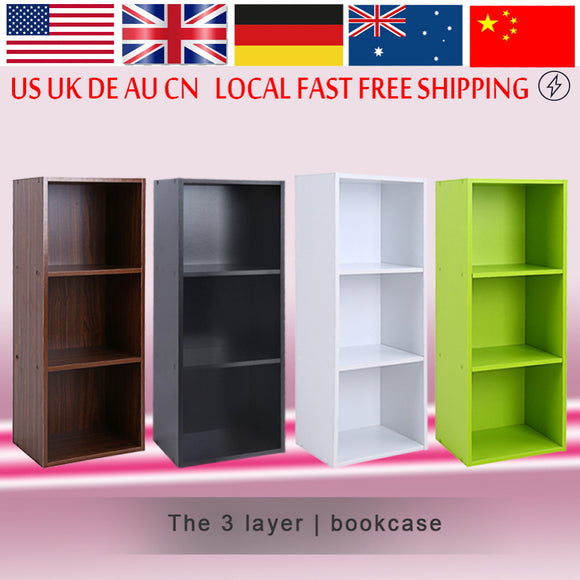Bookcase Wood Display Shelves Storage Bookshelf 3 Level Tier Bookcase Stand Rack Unit Cube - shopyes.us