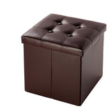 Faux Leather Footstool Practical Square Storage Stool Living Room Chair HOT SALE - shopyes.us
