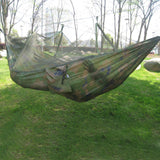 260x130cm Portable Outdoor Garden Army Green/Camo High Strength Parachute Fabri Camping Mosquito Hammock with Mosquito Nets - shopyes.us