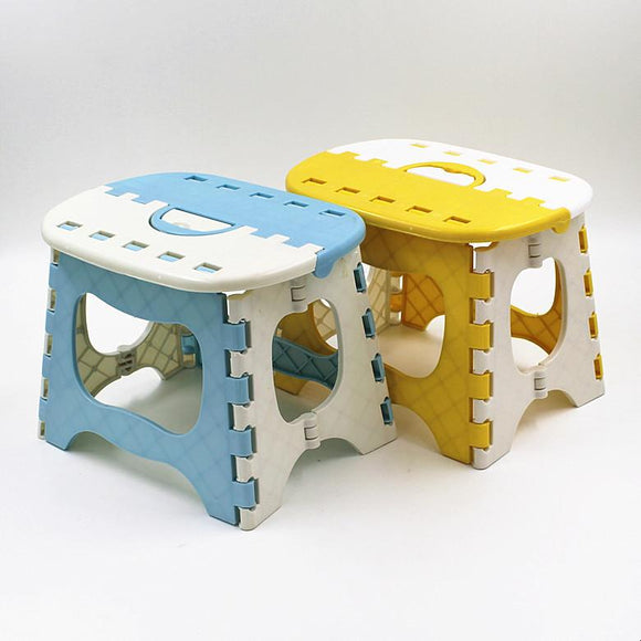 Blue Yellow Plastic Folding Stool 6 Type Thicken Step Ottoman Portable Home Furniture - shopyes.us