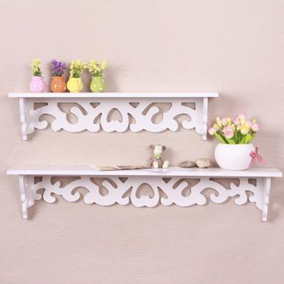Wall Hanging Shelf Goods Convenient Rack Storage Holder Home Bedroom Decoration wood wall shelf racks White :46*9cm - shopyes.us
