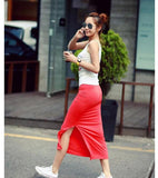 Cheap New Fashion Cotton Thin Woman Summer Skirt Side Split Slit Maxi Skirt Lady Package-hip Straight Slim Modal Long Skirt W563 - shopyes.us