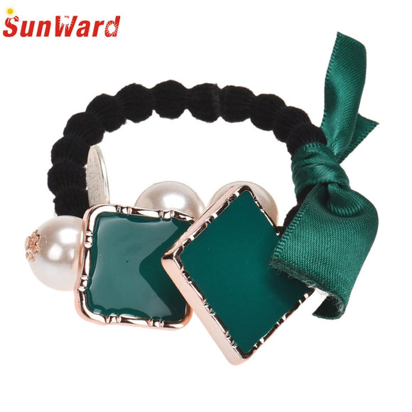 SunWard Good Deal Fashion Cute Bow Square Imitation Hair Band Rope Scrunchie Ponytail Holder Headwear Hair Accessories Gift 1PC - shopyes.us