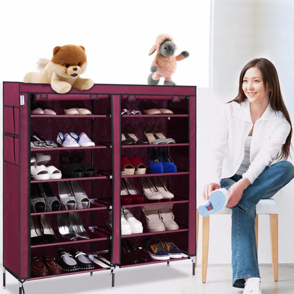 Homdox 6 Layer 12 Grid Portable Home Shoe Rack Shelf Shoe Storage Closet Furniture Organizer Cabinet #15-25 - shopyes.us