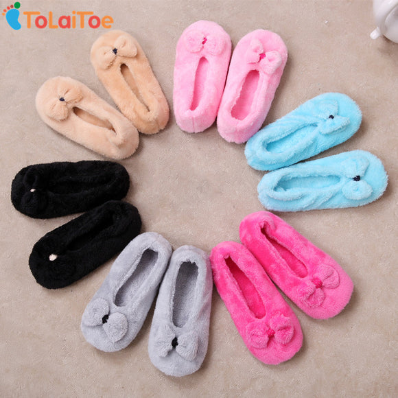 ToLaiToe 2017 Hot Selling Lovely Big BowKnot Keep Warm Soft Sole Women Indoor Floor Slippers/Shoes Bow Tie Flannel Home Slippers - shopyes.us
