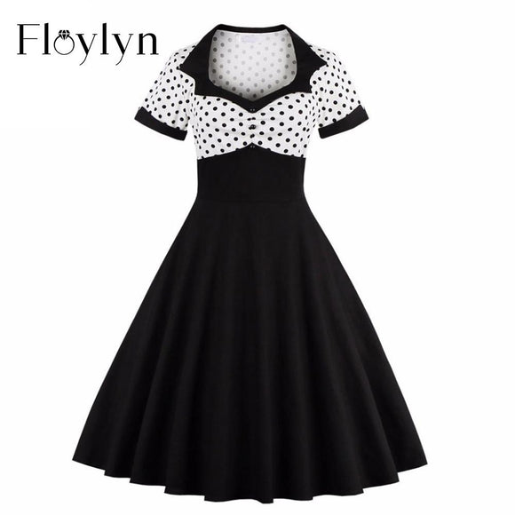 Floylyn  2017 Short Sleeve Summer Women Dress S-4XL Plus Size Polka Dot 50s 60s Swing Retro Vintage Dress Black and White - shopyes.us