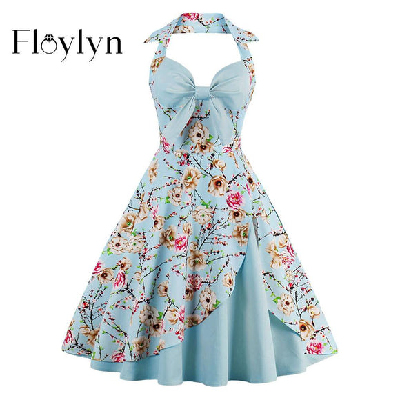 Floylyn 1950s Vintage Dresses Floral Print Retro Stitching Patchwork Party Robe Bow Sexy Strap Sky Blue Female Vintage Dresses - shopyes.us