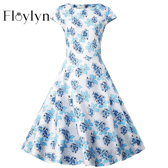 FLOYLYN 50s 60s Vestidos 2XL Plus Size Cap Sleeve Pleated Garden Party Picnic Cocktail Swing Vintage Dress Floral Print - shopyes.us