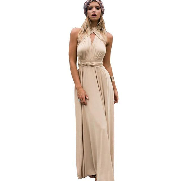 FLOYLYN Sexy Women Boho Maxi Club Dress Red Bandage Long Dress Party Multiway Bridesmaids Convertible Robe Longue Femme 2017 - shopyes.us