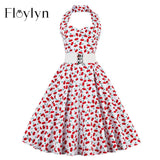 FLOYLYN 50S Pinup Hepburn Vintage Women Summer Draping Slim Cherry Swing Dress Halter Neck Vestidos Femininos Backless - shopyes.us
