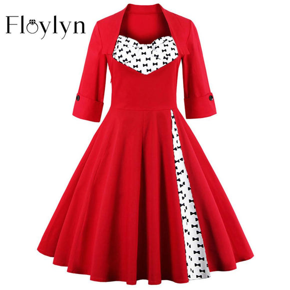 FLOYLYN S-5XL Elegant Dots Vintage Red Dress Women Bow Rockabilly 50s Dress Autumn Plus Size Floral Retro Party Dresses - shopyes.us