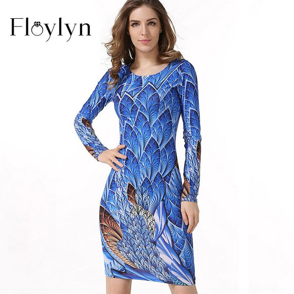 FLOYLYN Autumn Robe Fashion Women Vintage Print Casual O-Neck Package Hip Sexy Club Dress Sheath Bodycon Long Sleeve Dresses - shopyes.us