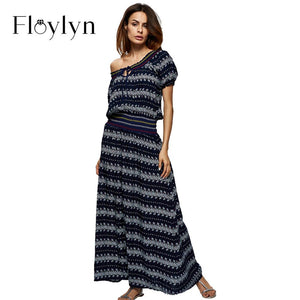 Floylyn Sexy VINTAGE Women Summer Off shoulder Vestidos Long Maxi Dress - shopyes.us