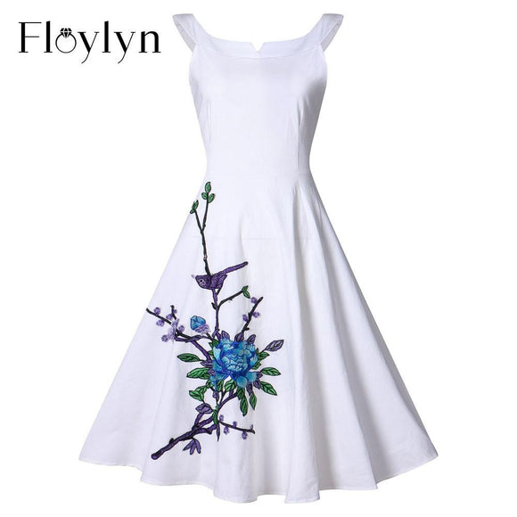 FLOYLYN Women Appliques Sexy Dress A Line Vestidos Sleeveless Halter Casual Dresses Plus Size Party Dresses - shopyes.us