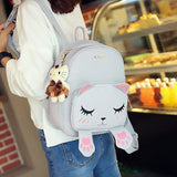 Korean Style Autumn New Collection Cat Embroidery Backpack Cute Cartoon Shoulder Bag Preppy Style Fashion Student School Bag - shopyes.us