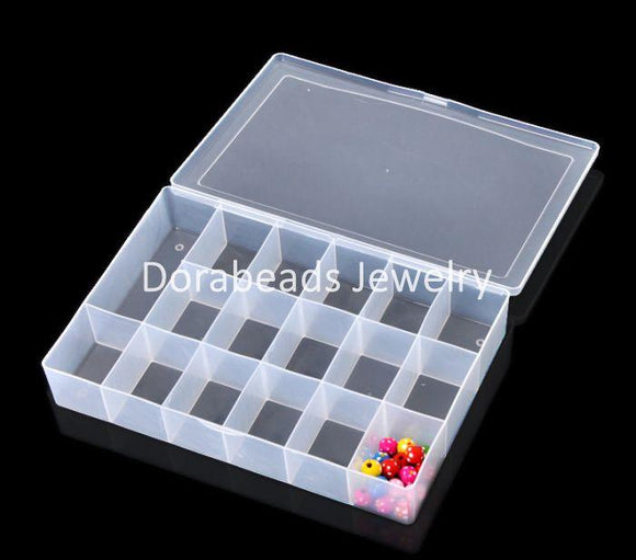 DoreenBeads  1PC Acrylic Rectangle Beads Storage Container 27x18.5x4.5cm(10 5/8