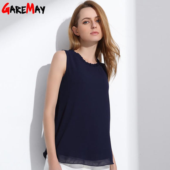 GAREMAY Women Chiffon Blouse Summer Sleeveless Camisa Candy Tops Femme Casual Fungus Collar Blusas - shopyes.us