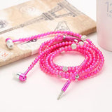 Fashion Bling Diamond Pearl Necklace Chain Earphone Stereo - shopyes.us