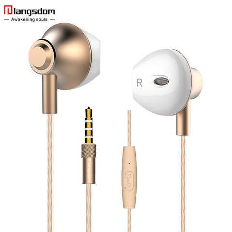 Langsdom F9 3.5mm Ergofit Earphone Metal Bass Earphones with Microphone Stereo Headset Earbuds for Phone Computer Fone De Ouvido