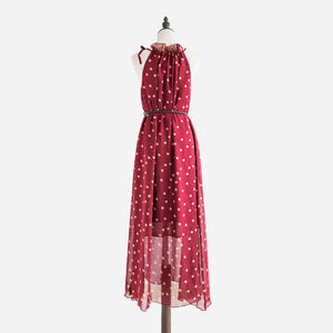 Vestidos de festa  Fashion Women's Polka Dots Maxi Dress With Belt Long Casual Summer Beach Chiffon Party Dresses - shopyes.us