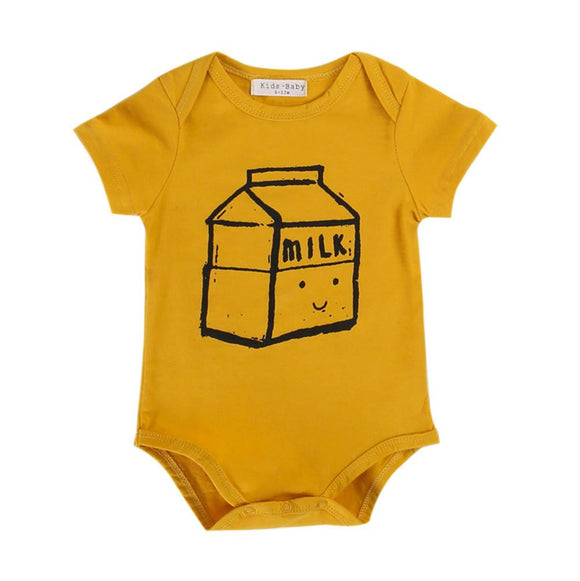 0-24M baby romper Newborn Boys Girls Baby Romper Letter milk box printed Jumpsuit Clothes Outfit baby clothes Drop ship - shopyes.us