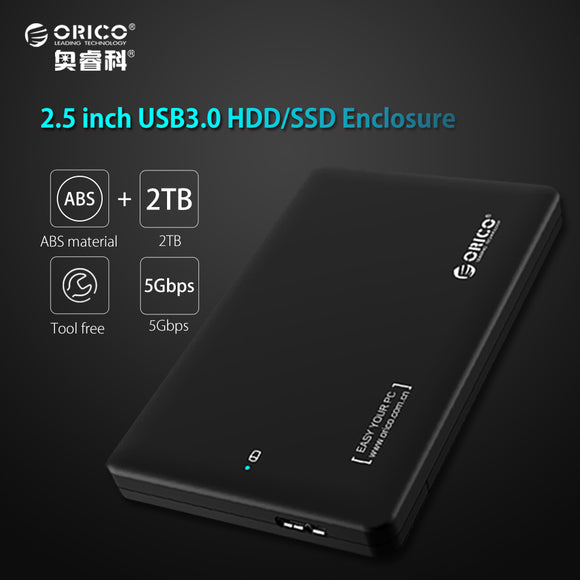 ORICO 2599US3 Sata3.0 to USB 3.0 HDD Case Tool Free 2.5 HDD Enclosure for Notebook Desktop PC hard disk Box Support UASP - shopyes.us