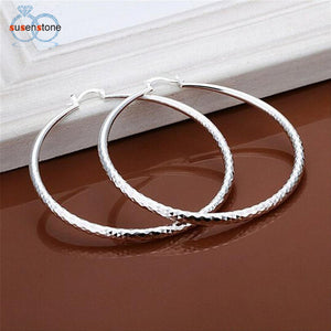 SUSENSTONE Fashion New Classic Design Solid Silver Big Hoop Earrings - shopyes.us