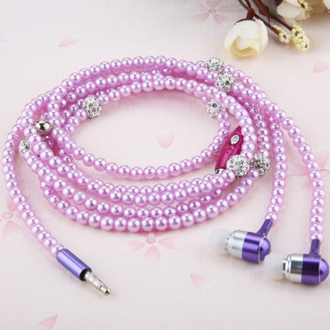 Earphones Luxury Bling Rhinestone Pearl Necklace