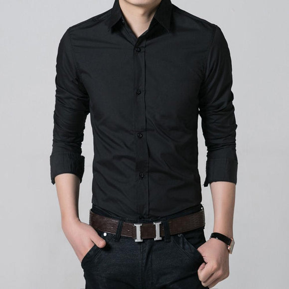 100% Cotton Men Slim Fit Long Sleeve Button Down Casual Dress Shirt Tops - shopyes.us