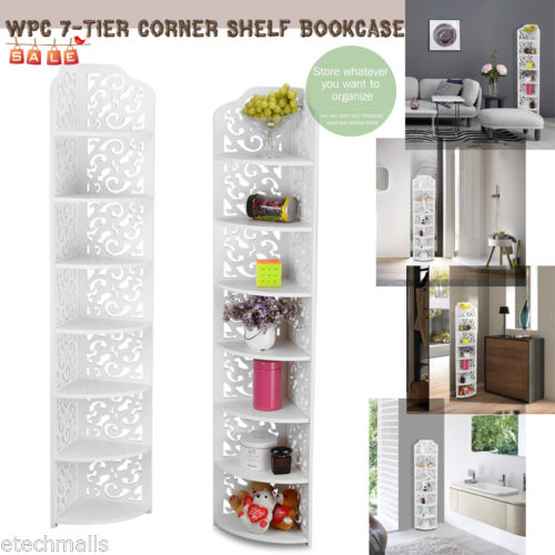 WPC 7-Tier Wall Corner Shelf Display Rack Storage Shelves Organizer Bookcase NEW - shopyes.us