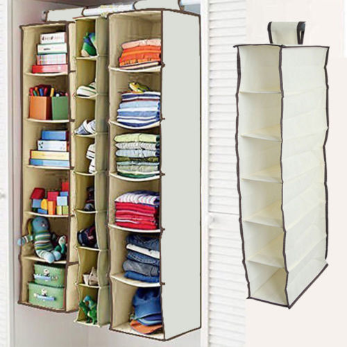6 Shelf Hanging Wardrobe Section Storage Organiser Shoe Clothes Garment Tidy US - shopyes.us