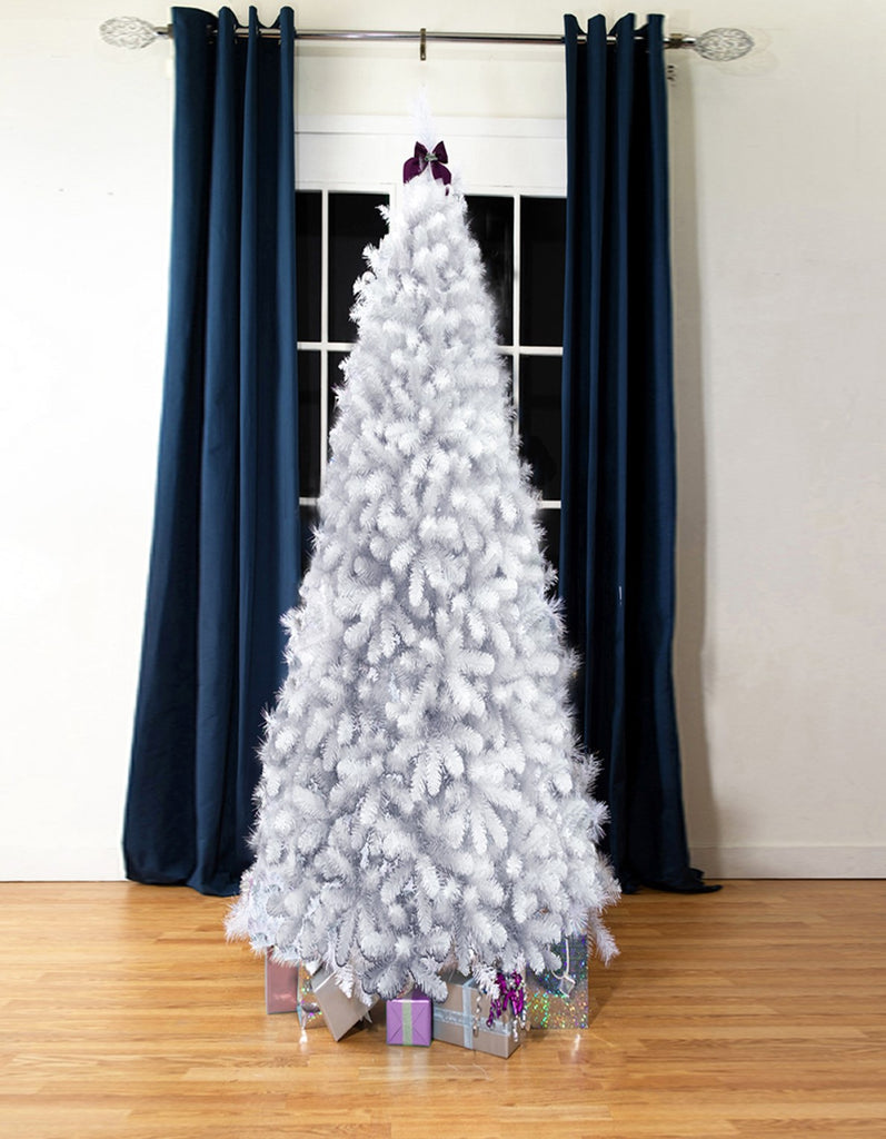 White Bergen Flock Artificial Christmas tree. 7ft tall, slimline