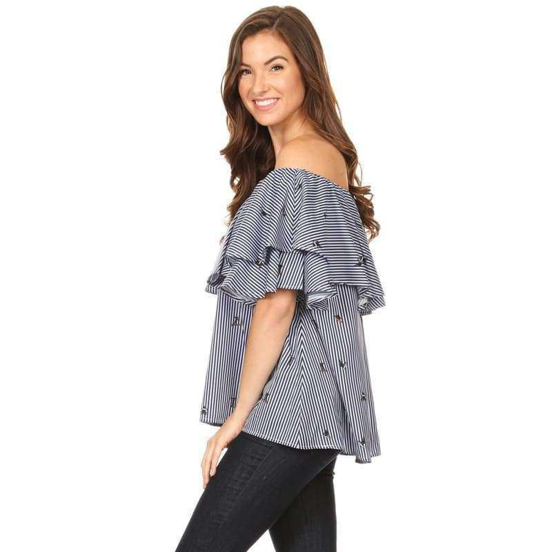1004-Denim Pinstripe Off Shoulder Top - Women - Apparel - Dresses - Casual