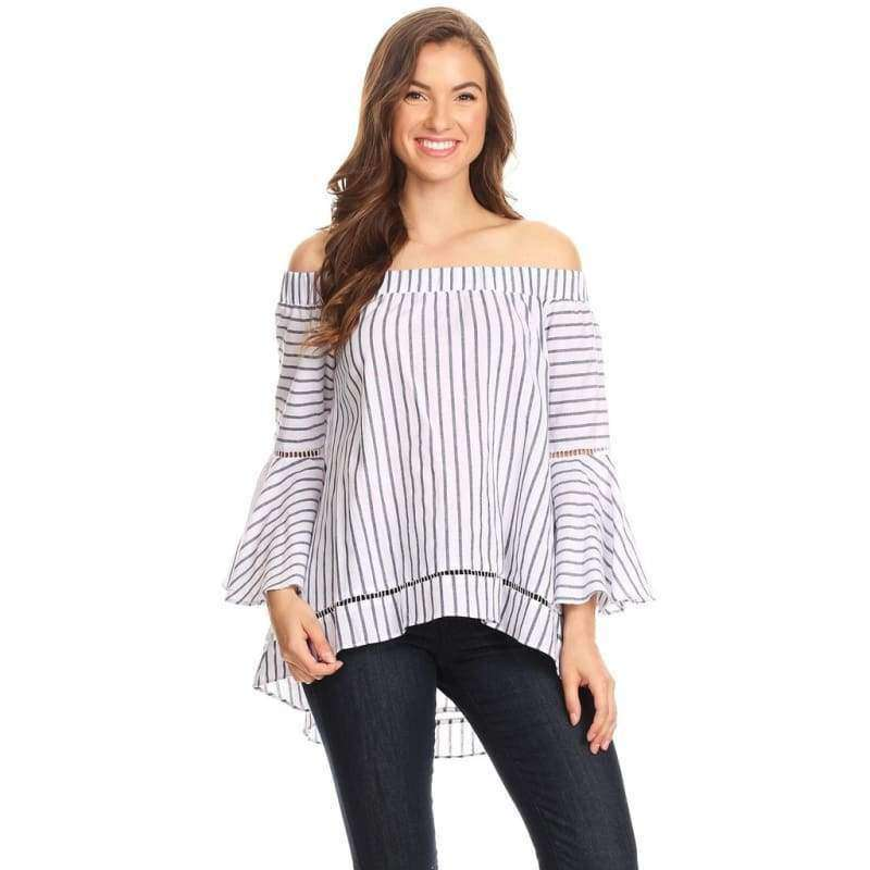 1065-White pinstripe off shoulder top - 24k-gold.ch