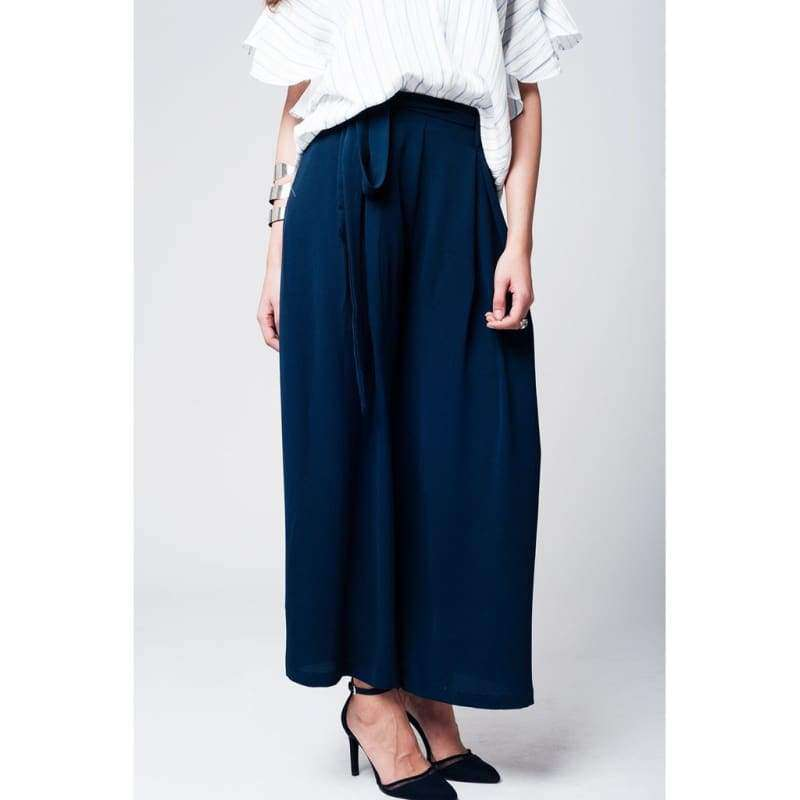 Navy Pants With Tweezers Belt - Femme - Vêtements - Pantalons - Pantalons