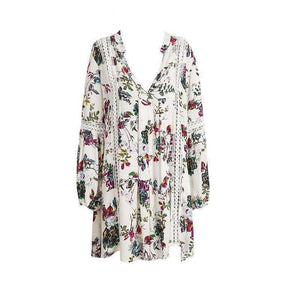 Summer Dress Sleeve Short Flower Print - White / S - Clothes