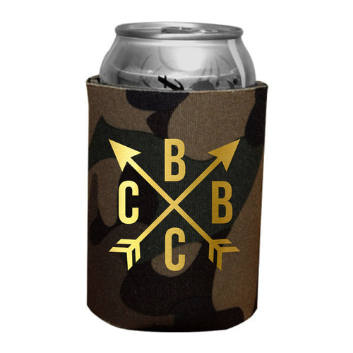 BBCC Crossed Arrows Metallic Gold Koozie