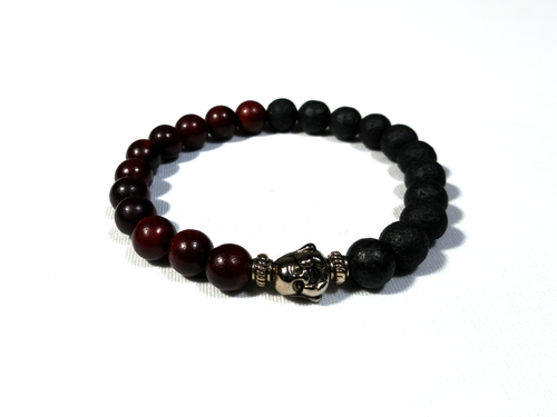 Natural Red Wood & Black Lava Stone Bracelet